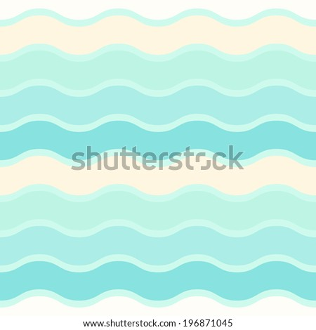 Sea waves seamless vector pattern, stylized seashore waves background