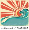 sea waves.Vintage illustration of nature poster with sun - stock vector