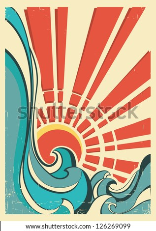sea waves.Vintage illustration of nature poster with yellow sun on old paper - stock vector