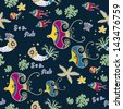 sea world seamless pattern, under water world wallpaper with fish,octopus and vegetation - stock vector