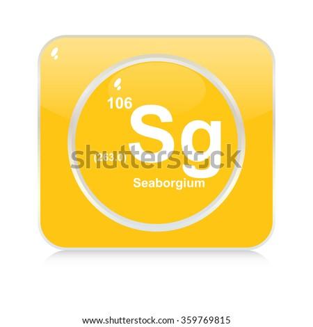 seaborgium chemical element button - stock vector