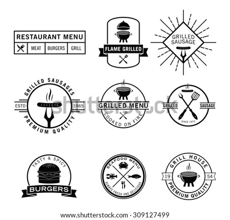 Seafood and grill label - stock vector