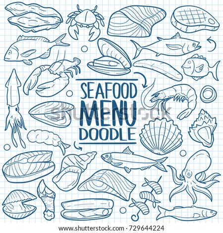 Seafood animals food sea doodles icon stock vector for Animals that are included in the cuisine of seafood