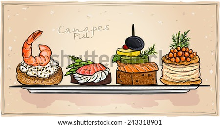 Seafood canapes set illustration with salmon, red caviar and shrimp on a plate. All objects is separate and editable.  - stock vector