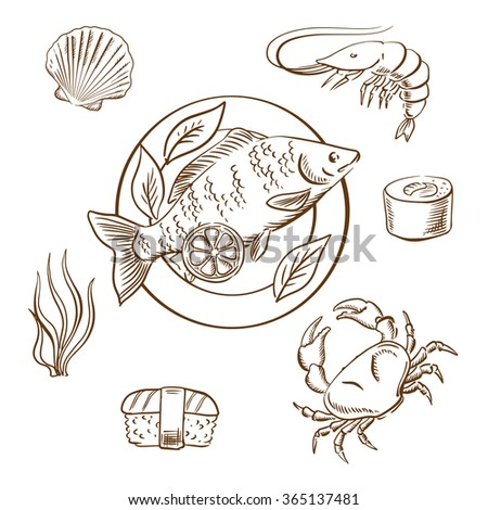 Seafood delicatessen with shrimp, sushi roll, crab, sushi nigiri, seaweed and shellfish, served on plate with lemon slices and salad leaves. Sketch style vector - stock vector