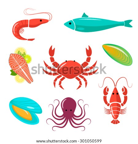 Seafood flat kit. Fish, crawfish, shrimp, crab, mussels, oyster, octopus.  Good for design restaurant menu, posters, flyers or wrapping.  - stock vector