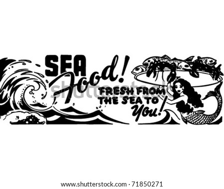 Seafood Fresh From The Sea - Retro Ad Art Banner - stock vector