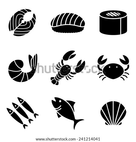 Seafood Icons - stock vector