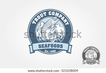Seafood logo with salmon in emblem style. Vector vintage fish for your logo design. It's good for trout farm, fishing club, or seafood restaurant.  - stock vector