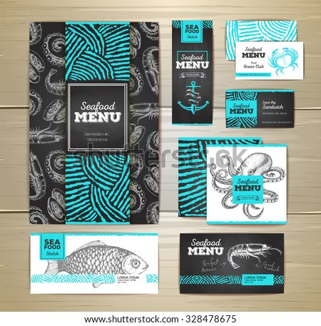 Seafood menu design. Corporate identity. Document template  - stock vector