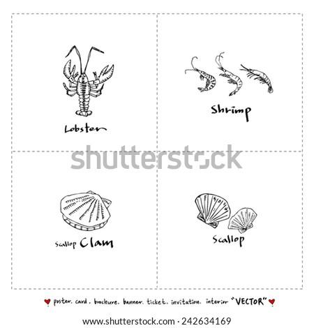 seafood menu illustrations / Set of food ingredients - vector illustrations - stock vector