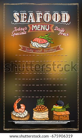 Seafood Menu List Blackboard Chalk Illustration Stock Vector