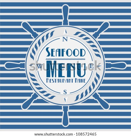 Seafood menu with the wheel anchor - stock vector