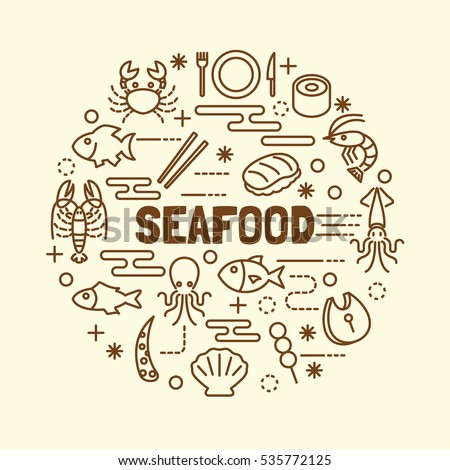 seafood minimal thin line icons set, vector illustration design elements