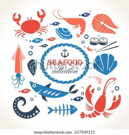 seafood objects collection - stock vector