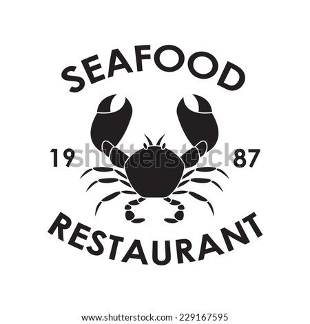 Seafood Restaurant label or emblem with crab symbol. Black badge or icon in vintage style isolated on white background. Menu card design element. Vector illustration.  - stock vector