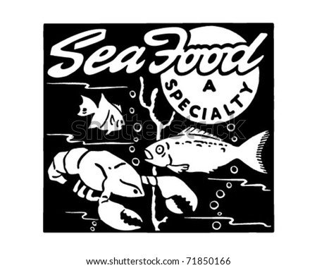 Seafood - Retro Ad Art Banner - stock vector