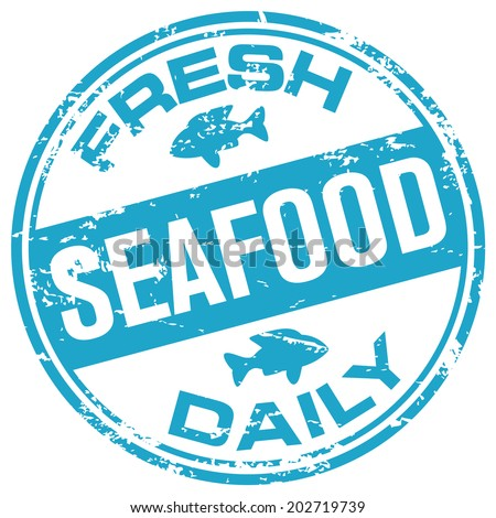 seafood rubber stamp - stock vector