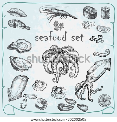 Seafood set. Hand drawn sketch. - stock vector