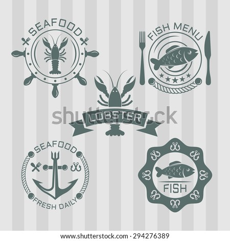 Seafood set of colored vector labels - stock vector