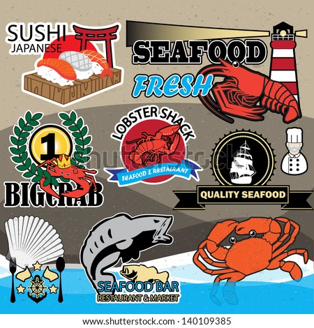 seafood symbols 03 - stock vector