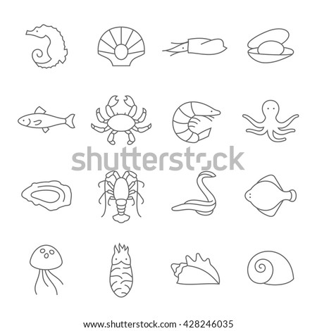 Seafood Thin Line Icons