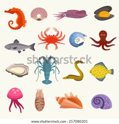 Seafood vector set - stock vector
