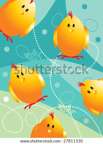 seagreen background with chicken and egg shape - stock vector