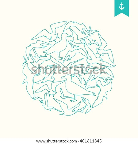 Seagull silhouette round composition. - stock vector