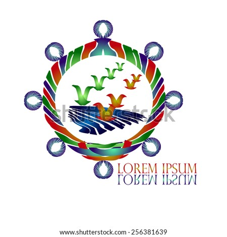 Seagulls & Helm Logo vector design template. Creative idea logotype. Yacht club symbol. Yachting sport concept. Creative logo for Travel & Tourism, Nautical Transportation & Recreation businesses. - stock vector