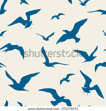 Seagulls seamless pattern - stock vector