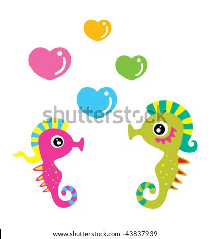 seahorse doodle couple in love - stock vector