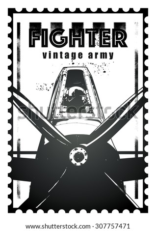 seal of combat fighter plane with aviator - stock vector