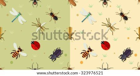 Sealmess insects pattern. Ladybird and beetle, bee and dragonfly, mosquito and spider, vector illustration - stock vector
