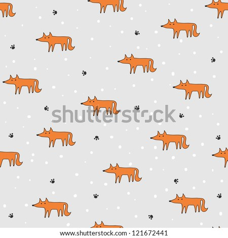 Seamles pattern with cartoon foxes - stock vector