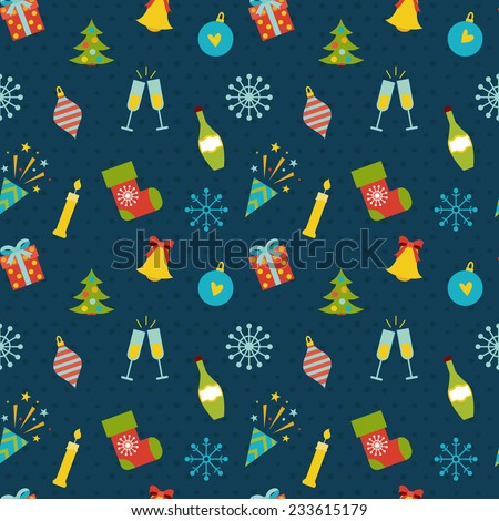 Seamles pattern with new year celebration Icons and christmas symbols.  - stock vector