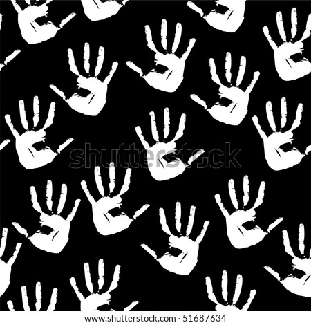 Seamless a background with white prints of hands. Vector illustration - stock vector