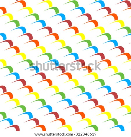 Seamless abstract background pattern with repeating multicolour waves. In blue, red, orange, yellow and red colors on the white (transparent) background. Vector illustration eps 10 - stock vector