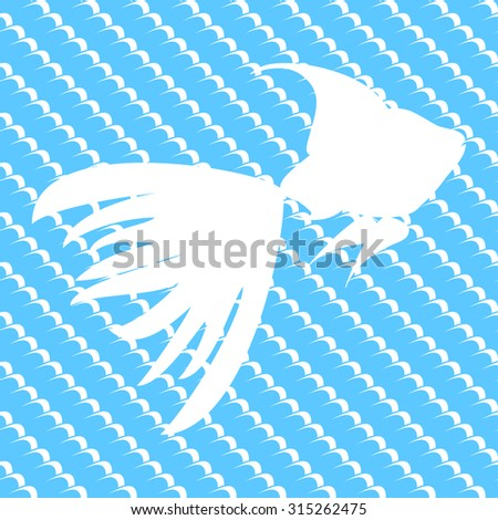 Seamless abstract background pattern with silhouette of fish in repeating blue waves. Vector illustration eps 10 - stock vector