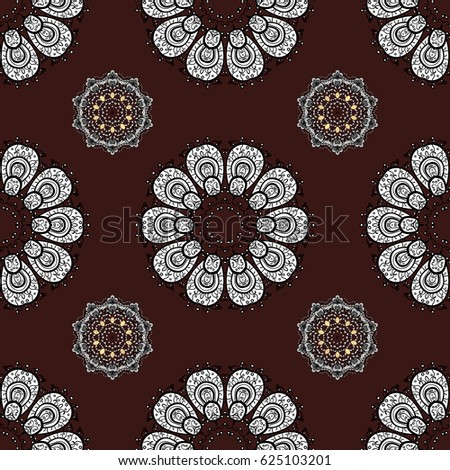 Seamless abstract background. Vector illustration. Oriental vector classic brown and white pattern.