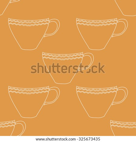 Seamless abstract background with tea cups. Vector illustration.