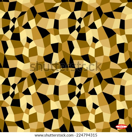 seamless abstract black beige sand pattern black beige texture abstract brown line on black sand background with tetrahedron vector - stock vector
