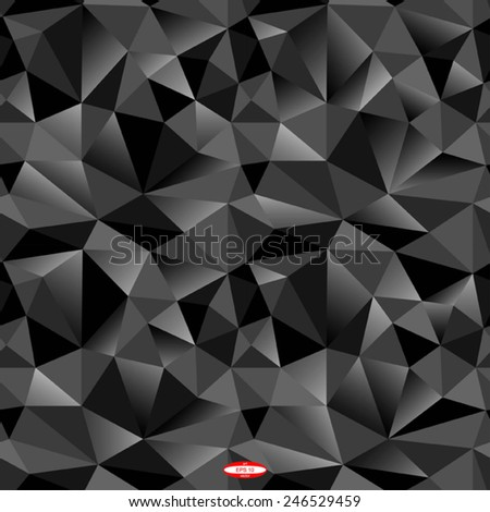seamless abstract black grey pattern black gray texture abstract black line on black background with triangle vector - stock vector