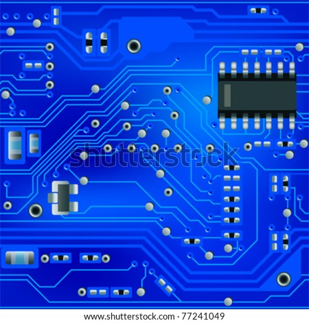 Seamless abstract blue circuit board pattern - stock vector