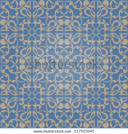 Seamless abstract blue pattern with gradient. Vector illustration