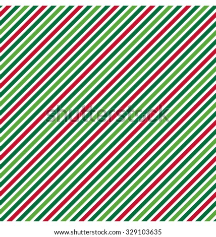 Seamless Abstract Diagonal Line Pattern in Christmas Colors Isolated on White Background - stock vector