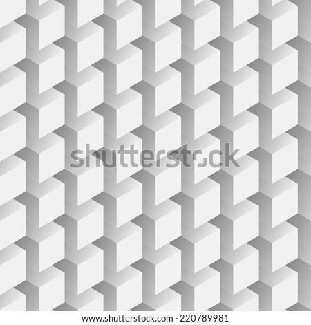 Seamless abstract Eps8 vector pattern - repeating volumetric gray cubes mosaic background - stock vector