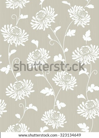 seamless abstract floral background with chrysanthemums - stock vector