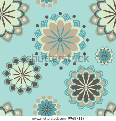 seamless abstract floral ornament background pattern. Vector illustration - stock vector
