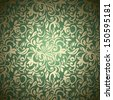 Seamless abstract floral pattern, golden-green style - stock photo